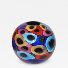 Luigi Camozzo Camozzo 1990 Modern Black Azure Blue Red Pink Yellow Murano Glass Vase - 2068774