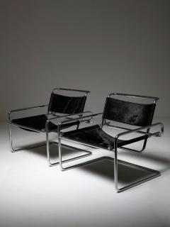 Luigi Saccardo Pair of Cantilever Steel chairs by Luigi Saccardo for Arrmet - 1085627