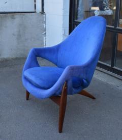 Luigi Tiengo Hot Afromosia Teak Blue Plush Lounger by Luigi Tiengo for Cimon - 2110567