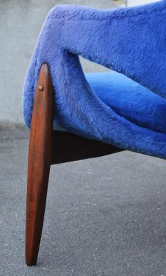 Luigi Tiengo Hot Afromosia Teak Blue Plush Lounger by Luigi Tiengo for Cimon - 2110570