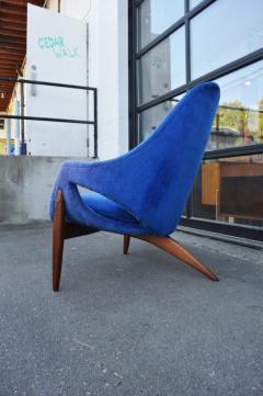 Luigi Tiengo Hot Afromosia Teak Blue Plush Lounger by Luigi Tiengo for Cimon - 2110571