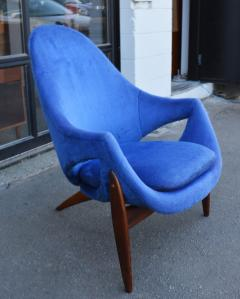Luigi Tiengo Hot Afromosia Teak Blue Plush Lounger by Luigi Tiengo for Cimon - 2110572