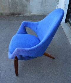 Luigi Tiengo Hot Afromosia Teak Blue Plush Lounger by Luigi Tiengo for Cimon - 2110573