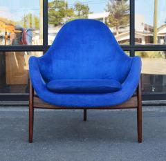 Luigi Tiengo Hot Afromosia Teak Blue Plush Lounger by Luigi Tiengo for Cimon - 2110574