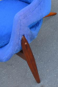 Luigi Tiengo Hot Afromosia Teak Blue Plush Lounger by Luigi Tiengo for Cimon - 2110579