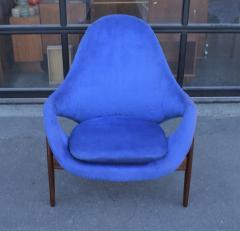 Luigi Tiengo Hot Afromosia Teak Blue Plush Lounger by Luigi Tiengo for Cimon - 2110587
