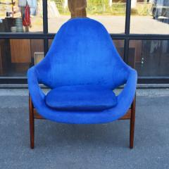 Luigi Tiengo Hot Afromosia Teak Blue Plush Lounger by Luigi Tiengo for Cimon - 2110589