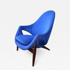Luigi Tiengo Hot Afromosia Teak Blue Plush Lounger by Luigi Tiengo for Cimon - 2111473