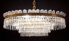 Luxurious Oval Shaped Crystal and Brass Chandelier Italy 1940 - 1445747
