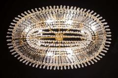 Luxurious Oval Shaped Crystal and Brass Chandelier Italy 1940 - 1445749