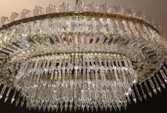 Luxurious Oval Shaped Crystal and Brass Chandelier Italy 1940 - 1445757