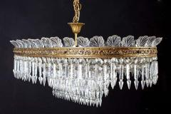 Luxurious Oval Shaped Crystal and Brass Chandelier Italy 1940 - 1445758