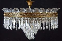 Luxurious Oval Shaped Crystal and Brass Chandelier Italy 1940 - 1445759