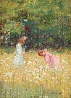 MABEL E DICKINSON POND Frances and Ruth Jennings in a Field of Flowers 1909 - 1493808