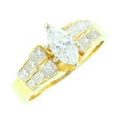 MARQUISE WHITE DIAMOND RING YELLOW GOLD - 1939303