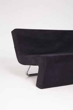 MDF Italia Black Velvet and Steel Sofa Made by MDF Italia 1990s - 2053042