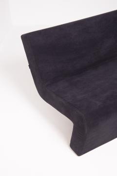 MDF Italia Black Velvet and Steel Sofa Made by MDF Italia 1990s - 2053043