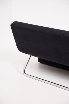 MDF Italia Black Velvet and Steel Sofa Made by MDF Italia 1990s - 2053044