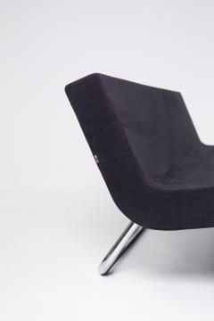 MDF Italia Black Velvet and Steel Sofa Made by MDF Italia 1990s - 2053046