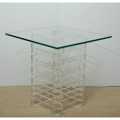MID CENTURY GLASS TOP OCCASIONAL TABLE WITH LUCITE BASE - 1253739