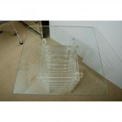 MID CENTURY GLASS TOP OCCASIONAL TABLE WITH LUCITE BASE - 1253740