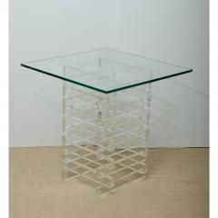 MID CENTURY GLASS TOP OCCASIONAL TABLE WITH LUCITE BASE - 1253741