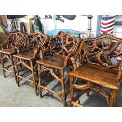 MID CENTURY ORGANIC MODERN WOOD BAR STOOLS SET OF 4 - 1046565