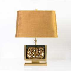MID CENTURY TABLE LAMPS POLISHED SOLID BRASS MOUNTED ASIAN GILT WOOD CARVINGS  - 2121794
