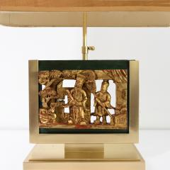 MID CENTURY TABLE LAMPS POLISHED SOLID BRASS MOUNTED ASIAN GILT WOOD CARVINGS  - 2121796