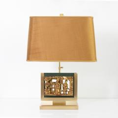 MID CENTURY TABLE LAMPS POLISHED SOLID BRASS MOUNTED ASIAN GILT WOOD CARVINGS  - 2121797