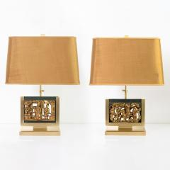 MID CENTURY TABLE LAMPS POLISHED SOLID BRASS MOUNTED ASIAN GILT WOOD CARVINGS  - 2121801