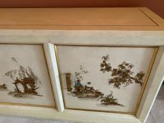 MODERN BRASS AND HANDPAINTED ASIAN SCENE SIDEBOARD - 1909916