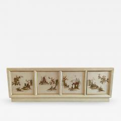 MODERN BRASS AND HANDPAINTED ASIAN SCENE SIDEBOARD - 1913206