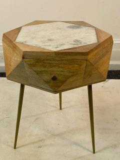 MODERN ITALIAN PAIR OF MULTI FACETED HEXAGONAL WOOD AND MARBLE TRIPOD TABLES - 1794016