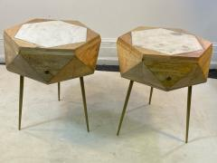 MODERN ITALIAN PAIR OF MULTI FACETED HEXAGONAL WOOD AND MARBLE TRIPOD TABLES - 1794021
