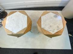 MODERN ITALIAN PAIR OF MULTI FACETED HEXAGONAL WOOD AND MARBLE TRIPOD TABLES - 1794023