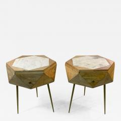 MODERN ITALIAN PAIR OF MULTI FACETED HEXAGONAL WOOD AND MARBLE TRIPOD TABLES - 1797803