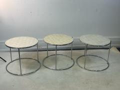 MODERN TRIO OF CAPIZ SHELL CHROME NESTING TABLES - 2046997