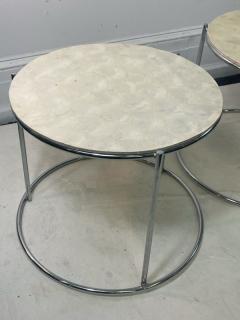 MODERN TRIO OF CAPIZ SHELL CHROME NESTING TABLES - 2046998