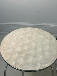 MODERN TRIO OF CAPIZ SHELL CHROME NESTING TABLES - 2046999