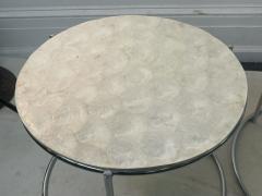 MODERN TRIO OF CAPIZ SHELL CHROME NESTING TABLES - 2047000