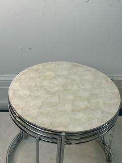 MODERN TRIO OF CAPIZ SHELL CHROME NESTING TABLES - 2047001