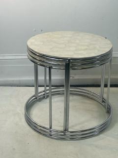 MODERN TRIO OF CAPIZ SHELL CHROME NESTING TABLES - 2047002