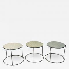 MODERN TRIO OF CAPIZ SHELL CHROME NESTING TABLES - 2060044