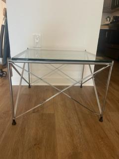 MODERNIST PAIR OF MOLECULAR FORM CHROME AND GLASS TABLES - 1947700