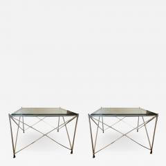 MODERNIST PAIR OF MOLECULAR FORM CHROME AND GLASS TABLES - 1953476