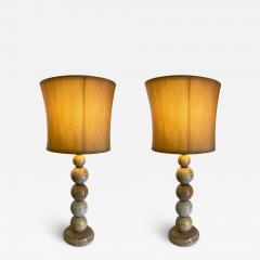 MODERNIST PAIR OF SWIRLED MARBLE BALL LAMPS - 1807685