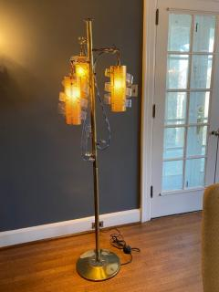 MODERNIST TRANSPARENT BLUE SWIRLED LUCITE AND BRASS FLOOR LAMP - 1912648