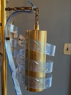 MODERNIST TRANSPARENT BLUE SWIRLED LUCITE AND BRASS FLOOR LAMP - 1912649