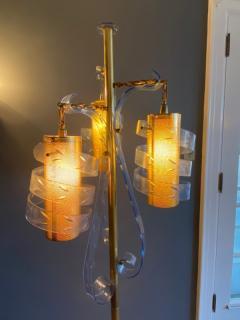 MODERNIST TRANSPARENT BLUE SWIRLED LUCITE AND BRASS FLOOR LAMP - 1912654